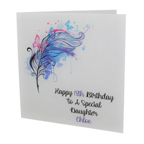 Personalised Butterfly Feather Birthday Card