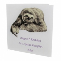 Personalised Sloth Birthday Card