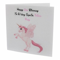 Personalised Pink Unicorn Birthday Card