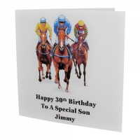 Personalised Horse Racing Trio Birthday Card