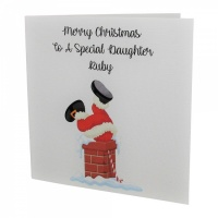 Personalised Santa In Chimney Christmas Card
